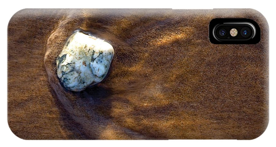 Stone IPhone Case featuring the photograph White Stone In Sand by Steve Somerville