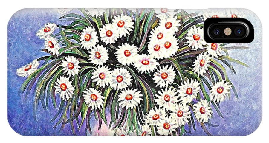 Flower IPhone X Case featuring the painting White Straw Flowers Two by Linda Mears