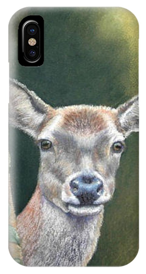 Rainforest IPhone X Case featuring the painting White Tail Doe At Ancon Hill by Ceci Watson