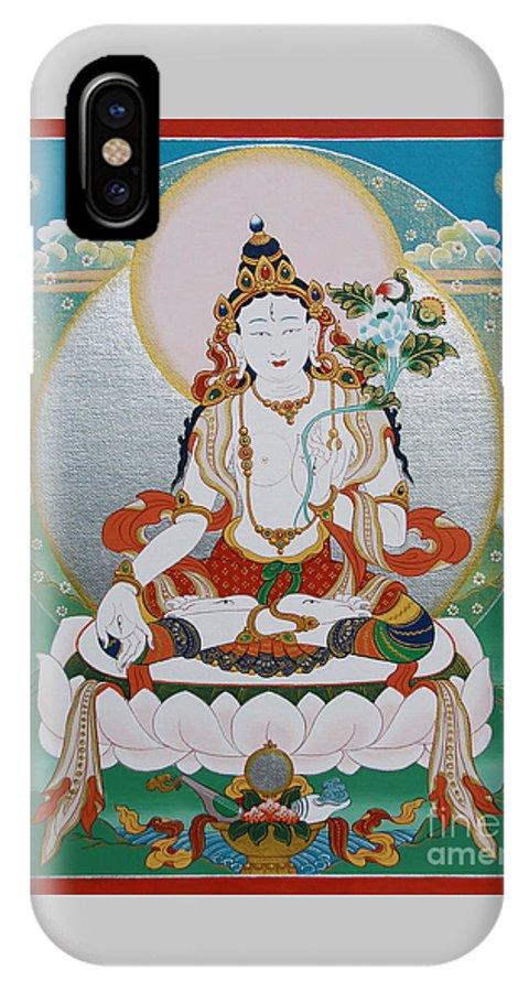 White IPhone X Case featuring the painting White Tara Chintamani Sita Tara by Sergey Noskov