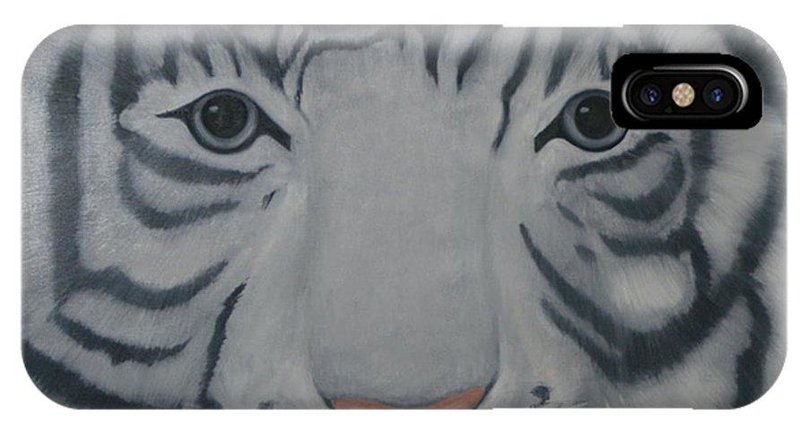 White Tiger IPhone X Case featuring the painting White Tiger by Toni Berry