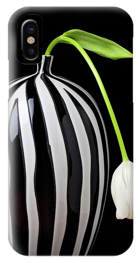 White IPhone X Case featuring the photograph White Tulip In Striped Vase by Garry Gay