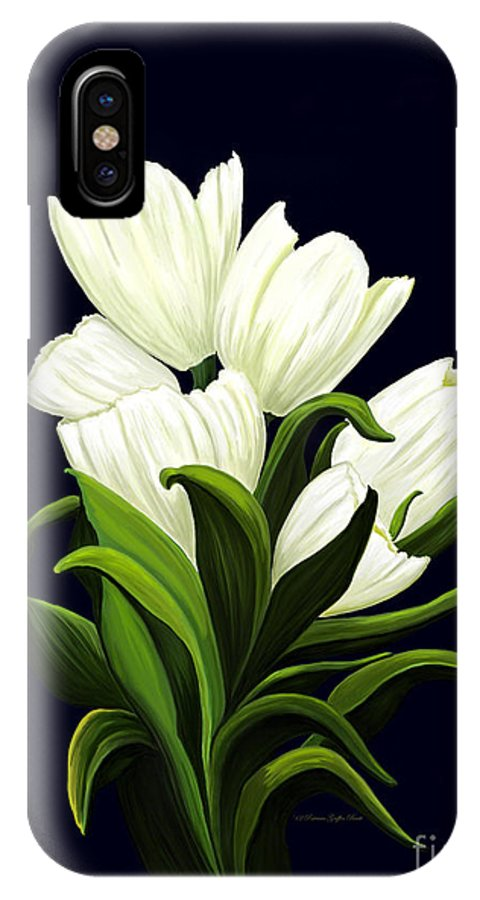 Mixed Media IPhone X Case featuring the painting White Tulips by Patricia Griffin Brett
