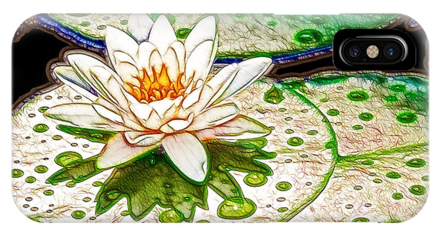 Flower IPhone X Case featuring the painting White Water Lilies Flower by Jeelan Clark