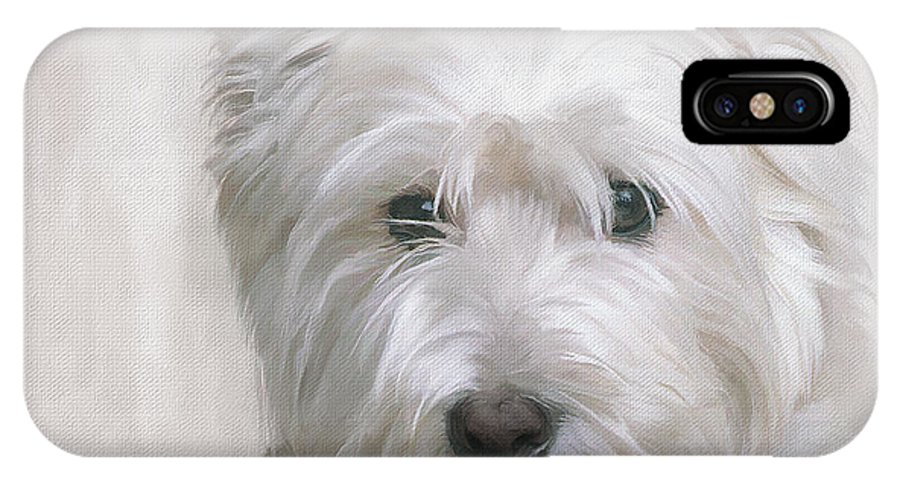 White IPhone X Case featuring the painting White West Highland Terrier Westie by JG Keevil