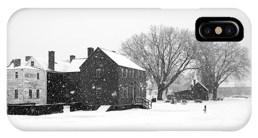 Whiteout IPhone X Case featuring the photograph Whiteout At Strawbery Banke by Eric Gendron