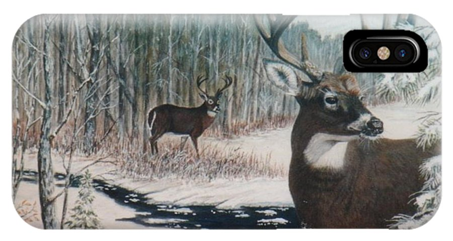 Deer; Snow; Creek IPhone X / XS Case featuring the painting Whitetail Deer by Ben Kiger