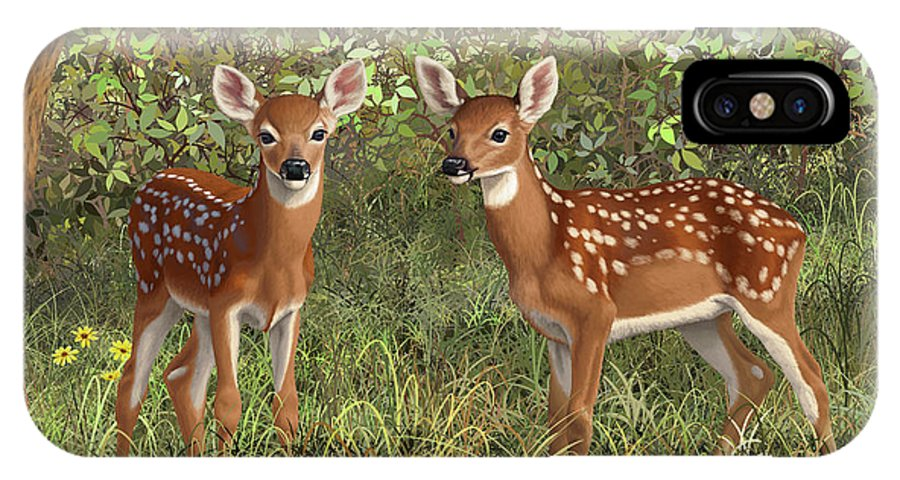 Whitetail Deer IPhone X Case featuring the painting Whitetail Deer Twin Fawns by Crista Forest