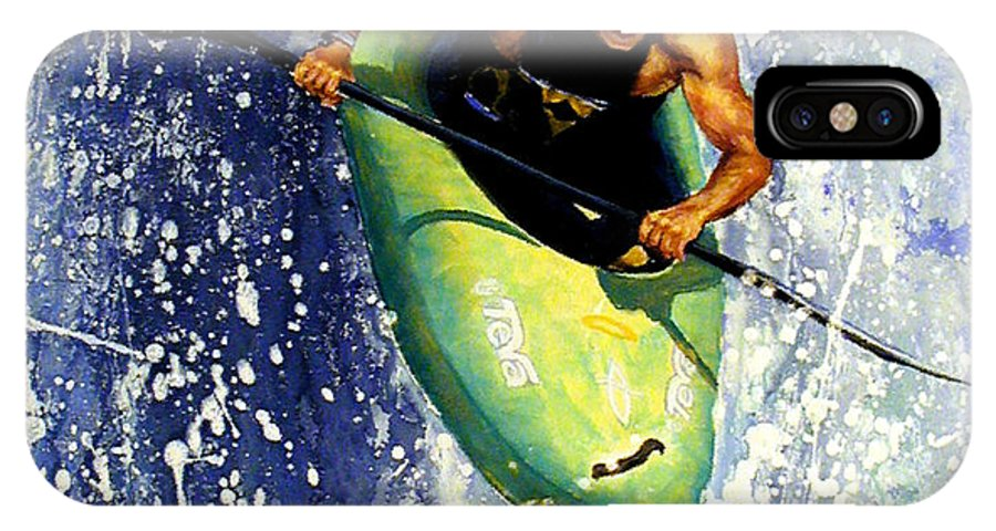 Kayaker IPhone X / XS Case featuring the painting Whitewater Kayaker by Lynee Sapere