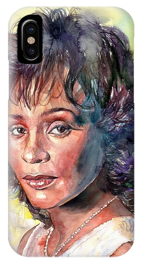 Whitney IPhone X Case featuring the painting Whitney Houston Portrait by Suzann Sines