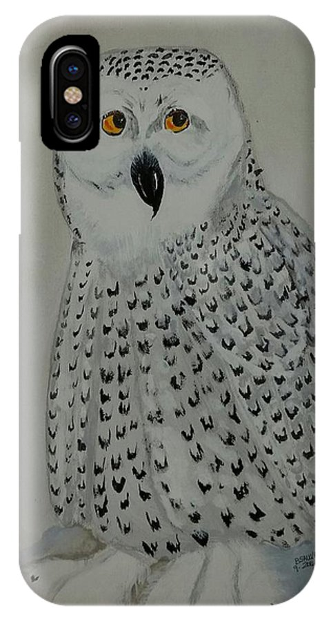 Snow Owl. Winter. Owl IPhone X Case featuring the painting Who Me by Brenda Sauve
