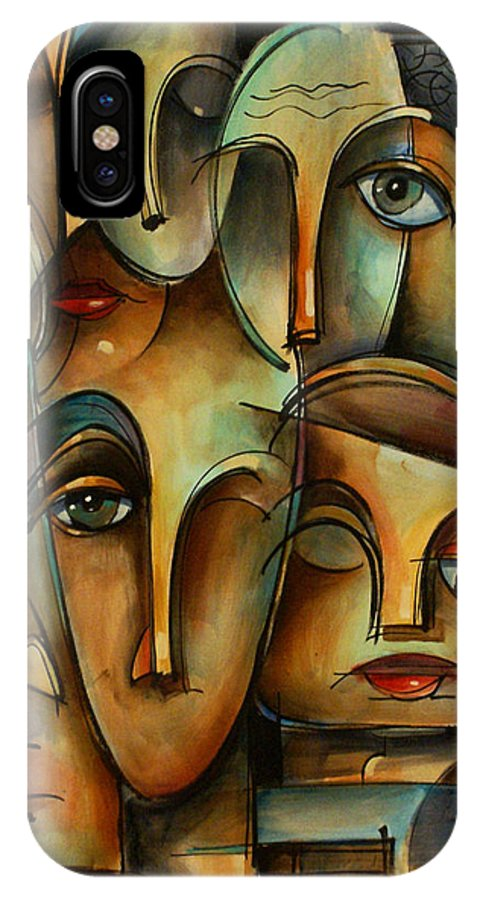 Urban Art Fragmented Faces Modern Art Stare IPhone X Case featuring the painting WHO by Michael Lang