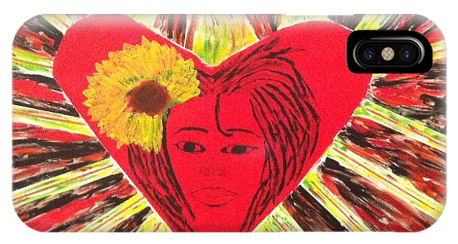 Black Woman IPhone X Case featuring the painting Who Needs Roses? by Vincent Spriggs II