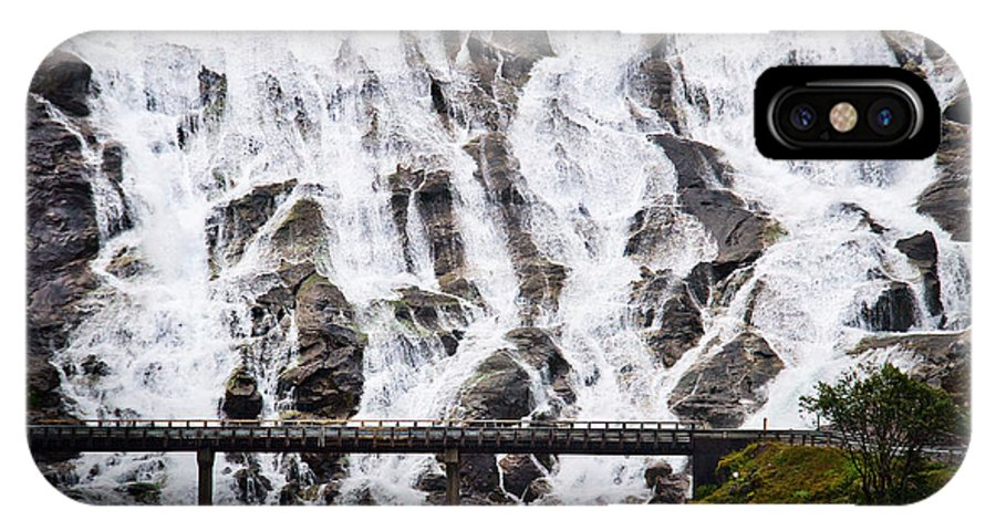 Fiord IPhone X Case featuring the photograph Wide Waterfal Joining The Sea by David Resnikoff