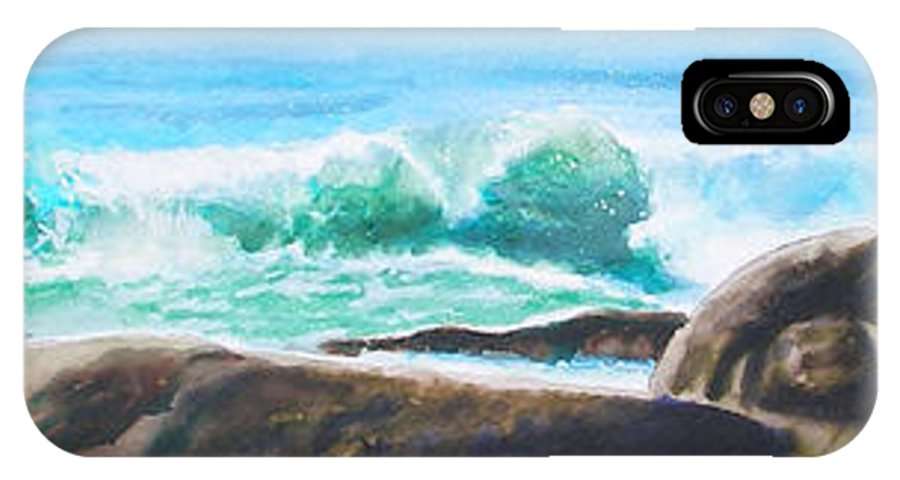 Seascape IPhone X Case featuring the painting Widescreen Wave by Ken Meyer