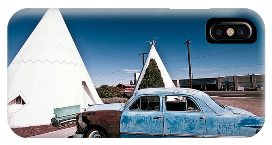 66 IPhone X Case featuring the photograph Wigwam Motel Classic Car #7 by Robert J Caputo