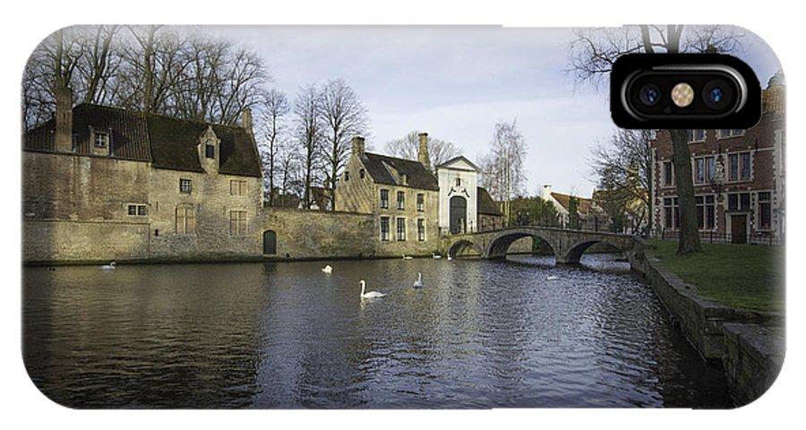 Bruges Belgium IPhone X / XS Case featuring the photograph Wijngaardplein Bruges by Smart Aviation