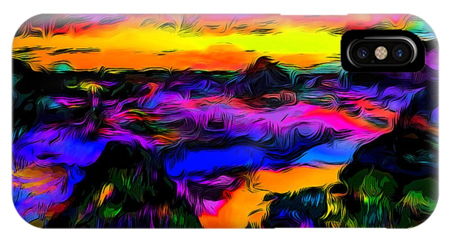 Psychedelic IPhone X Case featuring the photograph Wild And Crazy Shoreline Dusk by Ron Fleishman
