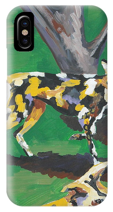 Dog IPhone X Case featuring the painting Wild Dogs by Caroline Davis