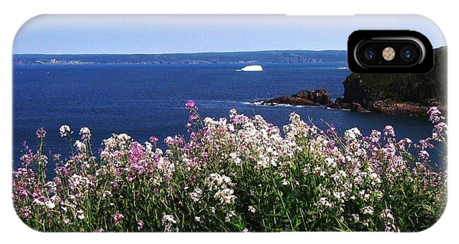 Photograph Iceberg Wild Flower Atlantic Ocean Newfoundland IPhone X Case featuring the photograph Wild Flowers And Iceberg by Seon-Jeong Kim