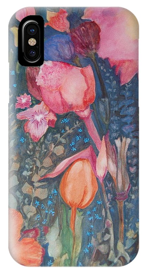 Flower Abstract IPhone Case featuring the painting Wild Flowers In The Wind II by Henny Dagenais
