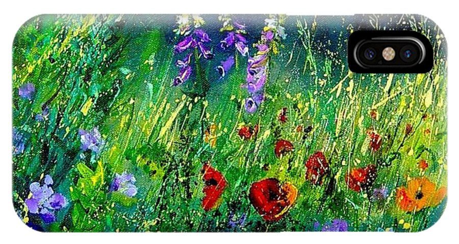 Poppies IPhone X Case featuring the painting Wild Flowers by Pol Ledent