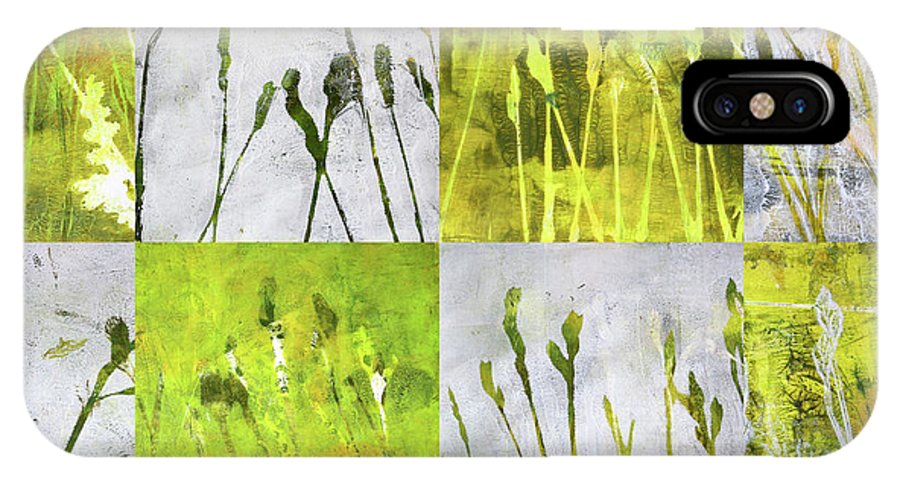 Wild Grass Collage IPhone X Case featuring the painting Wild Grass Collage 3 by Nancy Merkle
