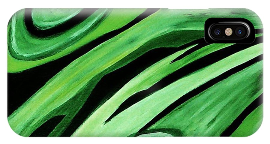 Painting IPhone X Case featuring the painting Wild Green by Yael VanGruber