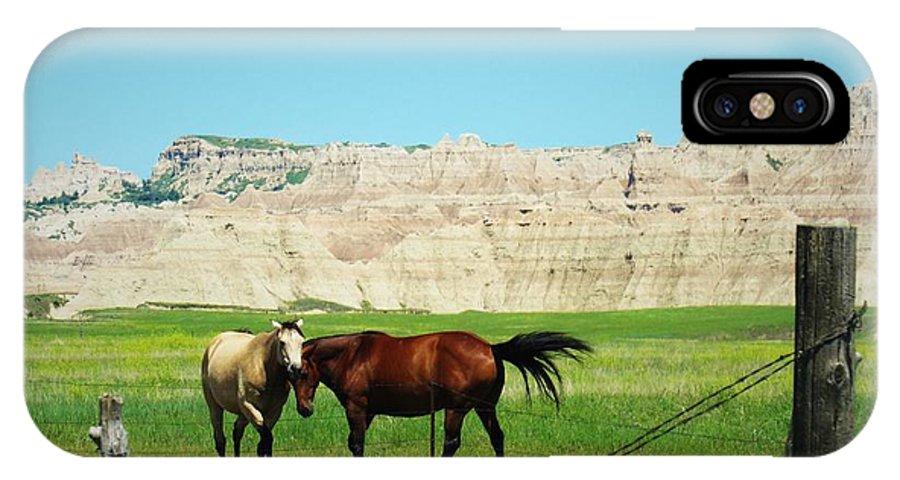 Grass IPhone X Case featuring the photograph Wild Horses Of South Dakota by Elizah Monai