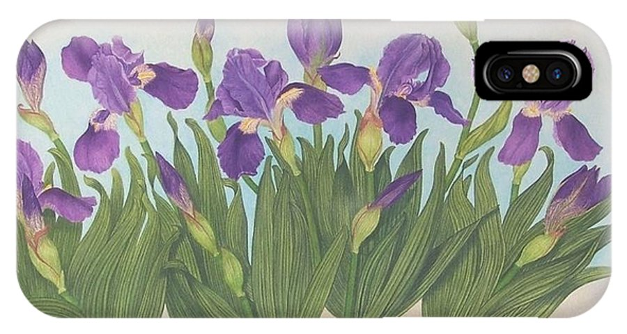 Realism Irises Nature Watercolor Flowers Purple IPhone X Case featuring the painting Wild Irises by Janet Summers-Tembeli