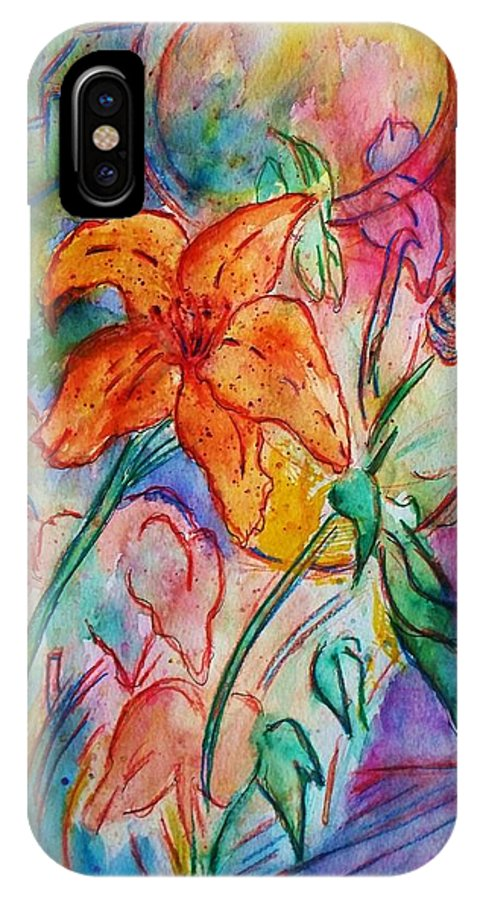 Floral IPhone X Case featuring the painting Wild Lily by Robin Monroe