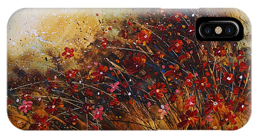 Red Flowers IPhone X Case featuring the painting Wild by Michael Lang