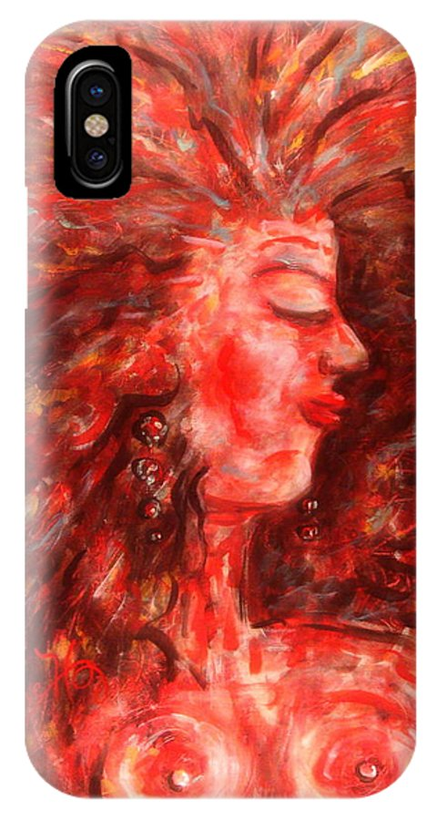 Female IPhone X Case featuring the painting Wild One by Natalie Holland