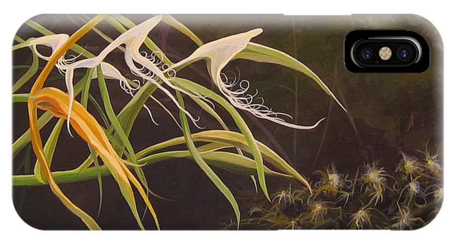 Caribbean IPhone X Case featuring the painting Wild Orchids by Hunter Jay