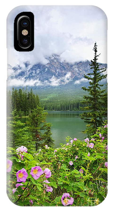 Wild Rose IPhone X Case featuring the photograph Wild Roses And Mountain Lake In Jasper National Park by Elena Elisseeva
