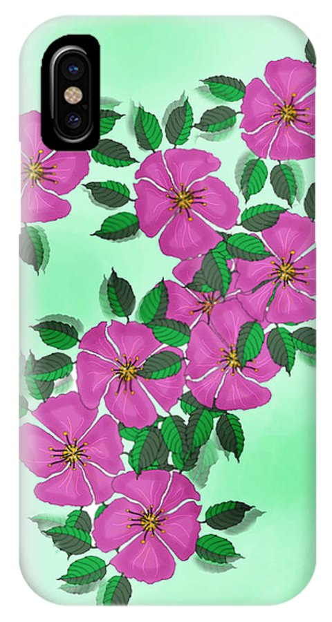 Floral IPhone X Case featuring the painting Wild Roses by Anne Norskog