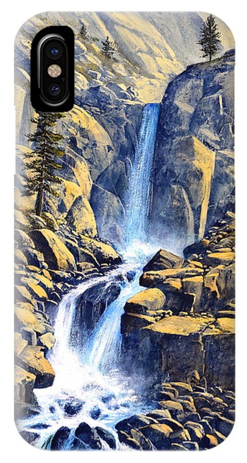Wilderness Waterfall IPhone X Case featuring the painting Wilderness Waterfall by Frank Wilson
