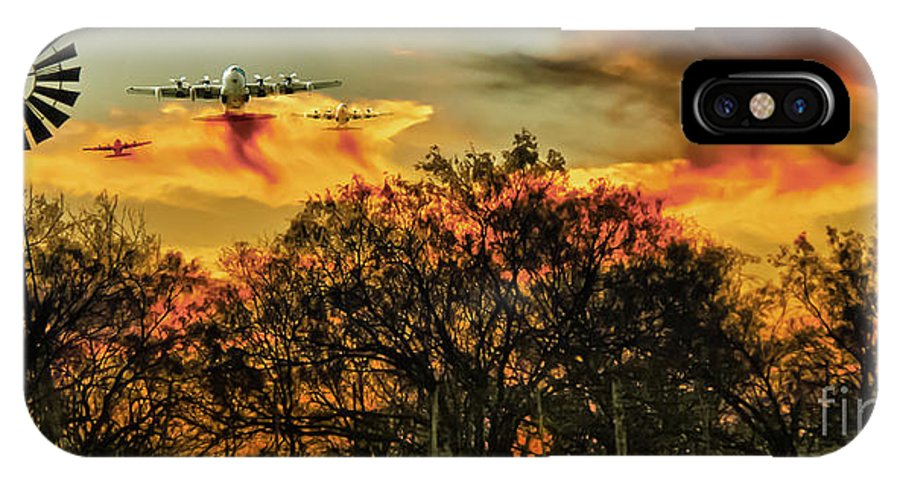 Fire IPhone X Case featuring the photograph Wildfire C-130 by Robert Frederick