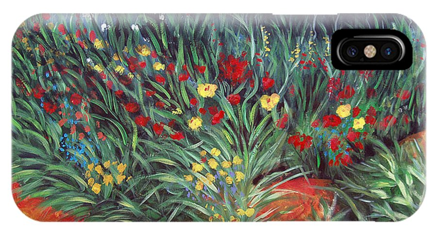 Landscape IPhone Case featuring the painting Wildflower Garden 2 by Nancy Mueller