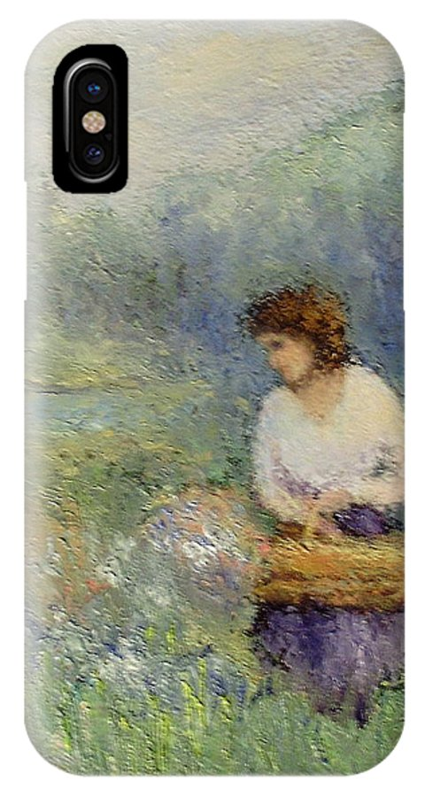 Woman IPhone X Case featuring the painting Wildflowers by Gail Kirtz