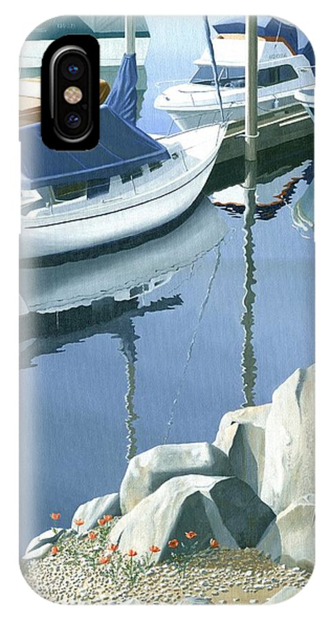 Sailboat IPhone Case featuring the painting Wildflowers On The Breakwater by Gary Giacomelli