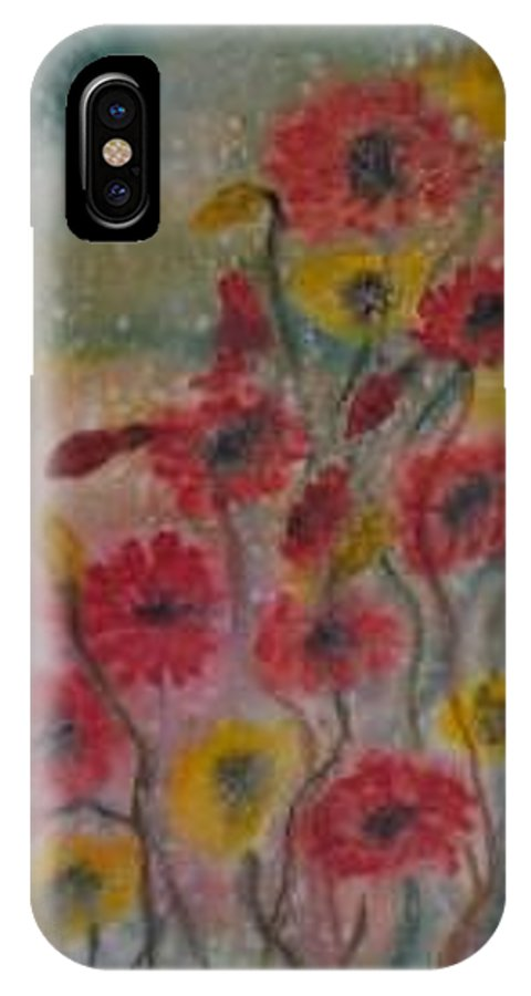 Watercolor IPhone X Case featuring the painting Wildflowers Still Life Modern Print by Derek Mccrea