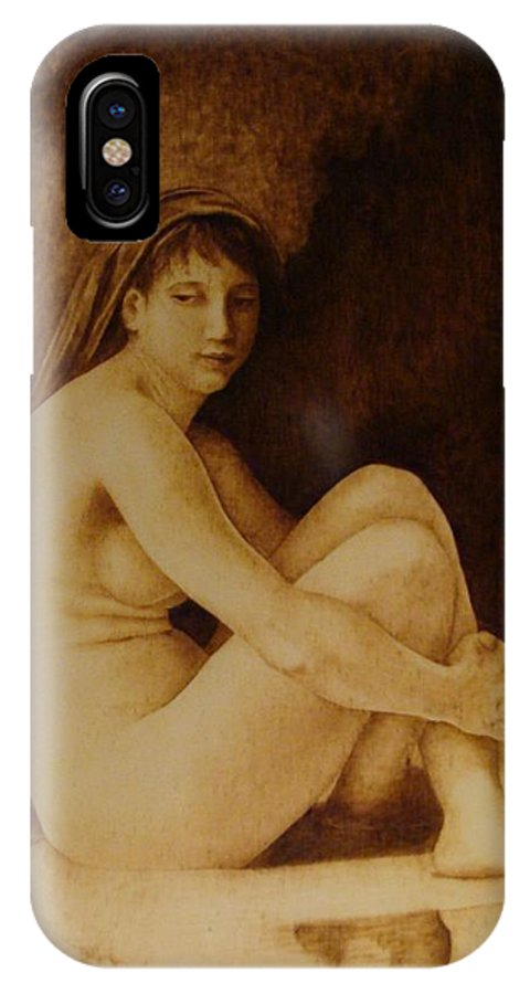 Pyrogrpahy; Woodburning; Nude; Bathing; Cave IPhone Case featuring the pyrography William Bouguereau Seated Nude by Jo Schwartz