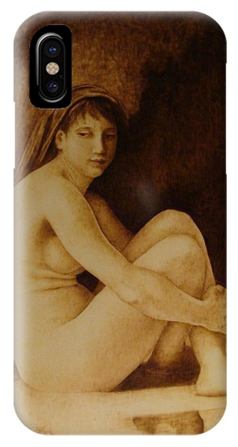 Pyrogrpahy; Woodburning; Nude; Bathing; Cave IPhone X Case featuring the pyrography William Bouguereau Seated Nude by Jo Schwartz