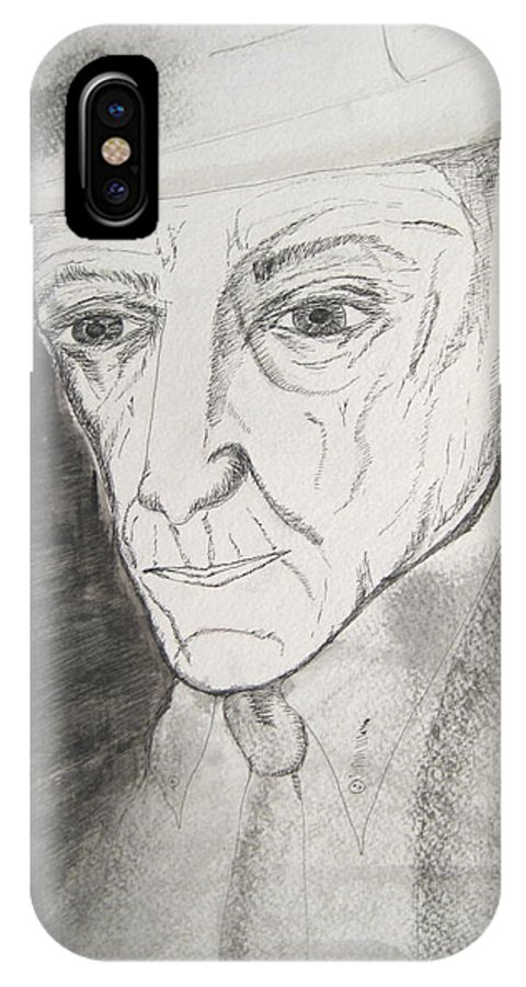 23 Author Black Burroughs Enigma Ink Man Music Painting Portrait Revolutionary Watercolor William IPhone X Case featuring the painting William S. Burroughs by Darkest Artist