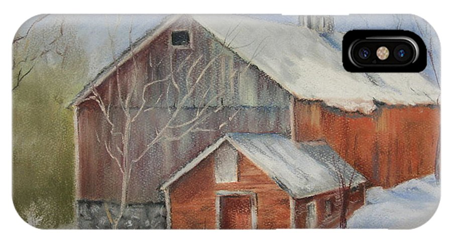 Barn IPhone X Case featuring the painting Williston Barn by Carol Mueller