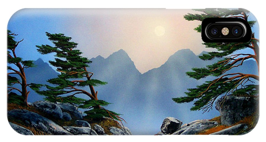 Windblown Pines IPhone Case featuring the painting Windblown Pines by Frank Wilson
