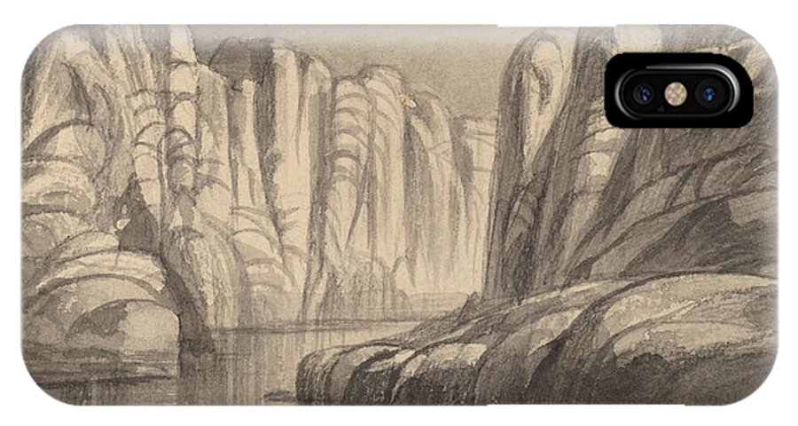 IPhone X Case featuring the drawing Winding River Through A Rock Formation (philae, Egypt) by Edward Lear