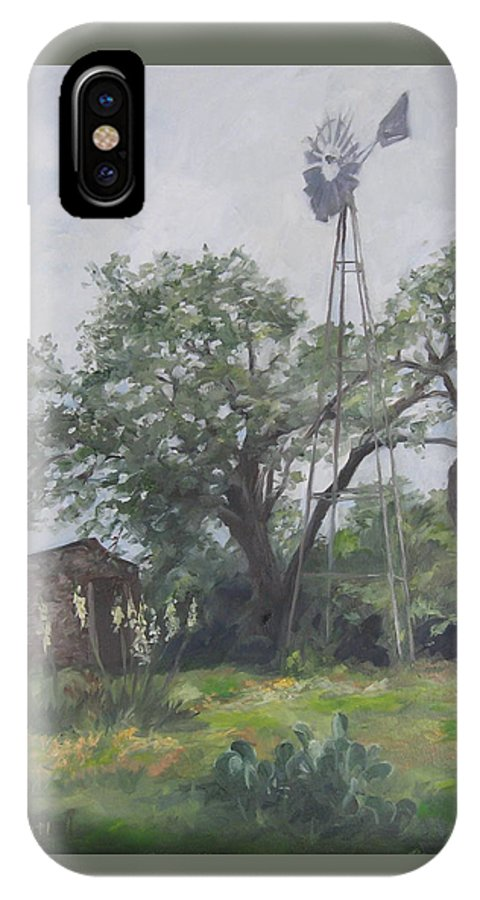 Texas IPhone X Case featuring the painting Windmill At Genhaven by Connie Schaertl