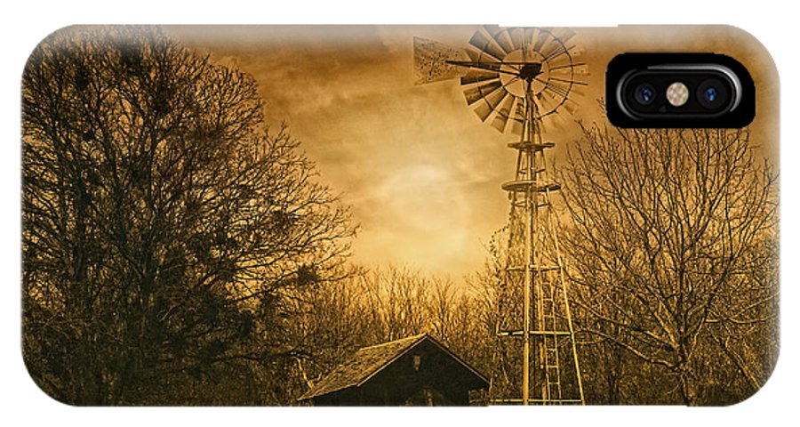 Windmill IPhone X Case featuring the photograph Windmill At Sunset by Iris Greenwell